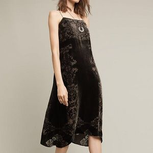 Anthropologie | Floreat Velvet Slip Dress
